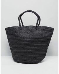 Warehouse - Contrast Stripe Straw Shopper Bag - Lyst