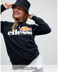 Ellesse Boyfriend Sweatshirt With Chest Logo - Black