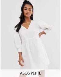 ASOS - Свободное Хлопковое Платье Мини С V-образным Вырезом - Lyst