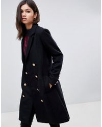 Y.A.S - Gold Button Pea Coat - Lyst