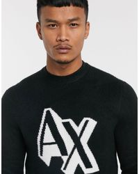 Armani Exchange Contrast Ax Chest Logo Jumper - Black