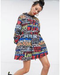 Love Moschino Giacca con cappuccio nera con loghi multicolore - Nero
