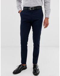 Jack & Jones Intelligence Slim Fit Smart Pants In Navy - Blue