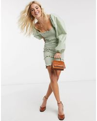 TOPSHOP Shirred Long Sleeve Mini Dress - Green