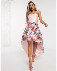 Chi Chi London Bandeau Prom Dress With High Low Hem - Pink