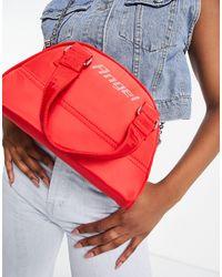Bershka Bowler Bag With Diamante Slogan - Red