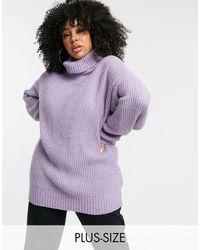 Missguided Лавандовый Oversize-свитер С Высоким Воротником -фиолетовый - Пурпурный