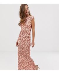 Bariano Embellished Patterned Sequin Maxi Dress With Cap Sleeve In Rose Gold - Pink