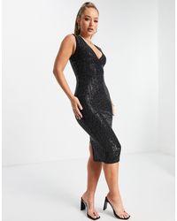 AX Paris Plunge Midi Sequin Bodycon Dress - Black