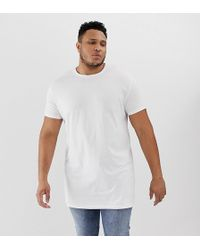 ASOS - Plus Super Longline T-shirt With Crew Neck In White - Lyst