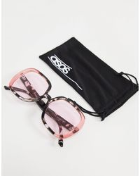 ASOS Recycled Frame Oversized 70s Sunglasses With Pink Lens