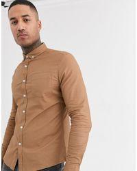 ASOS Slim Fit Oxford Shirt - Brown
