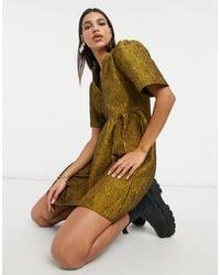 Vila Mini-jurk Zonder Kraag Met Gerimpelde Details - Metallic