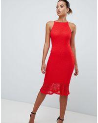 AX Paris Sqaure Neck Midi Dress With Frill Hem - Red