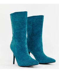 PrettyLittleThing Faux Suede High Heeled Ankle Boot In Teal - Blue