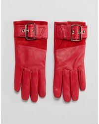 River Island - Leather Faux Fur Lined Red Glove - Lyst