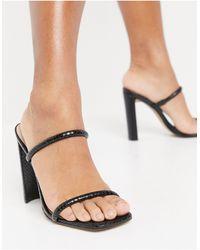 ALDO Block Heel Mules - Black