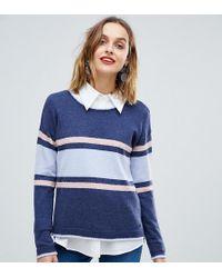Esprit Colour Block Stripe Round Neck Jumper - Blue