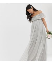 Maya Maternity Bridesmaid V Neck Maxi Tulle Dress With Tonal Delicate Sequins - Gray
