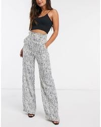 River Island Printed Button Front Wide Leg Pants - White