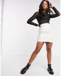 Object Leather Mini Skirt - White