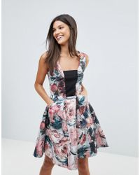 Closet - Closet Square Neck Metallic Printed Skater Dress - Lyst
