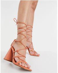 ASOS Nilo Knotted Tie Leg Heeled Sandals - Orange