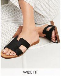 New Look Черные Сандалии-мюли На Плоской Подошве Для Широкой Стопы New Look-черный Цвет