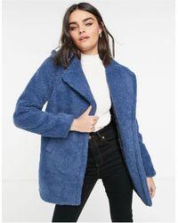 AX Paris Голубое Короткое Пальто С Плюшевой Фактурой -голубой - Синий