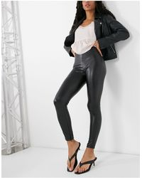 Pull&Bear Faux Leather Trousers - Black