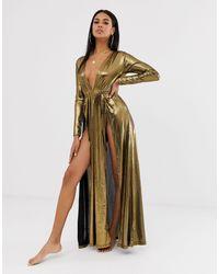 ASOS Beach - Vestito lungo plissé - Metallizzato