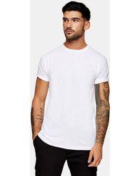 TOPMAN Slub Roll Sleeve T-shirt - White