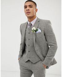 ASOS – Wedding – Sehr enge Anzugjacke - Grau