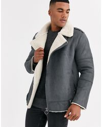 Only & Sons Faux Suede Aviator Jacket - Grey