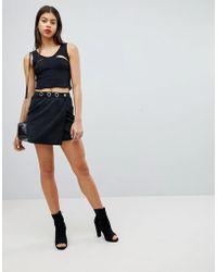 Liquor N Poker - Denim Skirt With Wrap Detail And Eyelet - Lyst