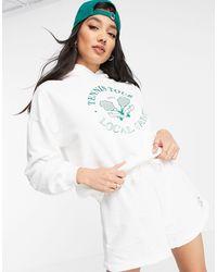 Pull&Bear Felpa bianca con logo stile tennis - Bianco