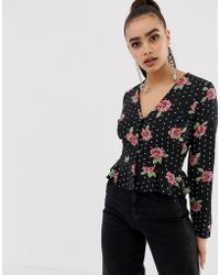 Missguided - Button Through Peplum Blouse In Mixed Print - Lyst