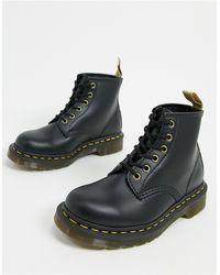 Dr. Martens Черные Ботинки С 6 Рядами Люверсов 101-черный Цвет