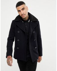 Schott Nyc Cyclone 4 Wool Reefer Coat Detachable Faux Fur Collar In Navy - Blue