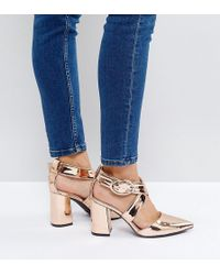 The March - Rose Gold Cross Strap Heeled Shoes - Lyst