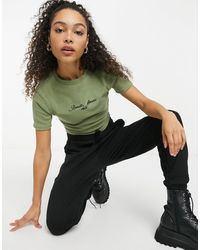Russell Athletic Ribbed Crop Top - Green