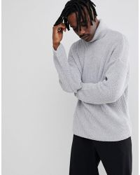 ASOS - Relaxed Fit Roll Neck Sweater In Gray - Lyst