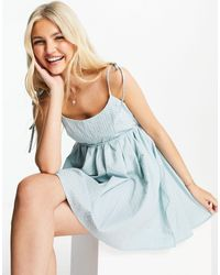 Skylar Rose Babydoll Gingham Mini Dress With Tie Straps - Green