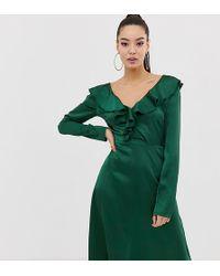 Missguided Satijnen Midi-jurk Met Ruches En V-hals In Groen