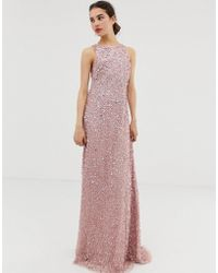 Angeleye Square Neck All Over Embellished Maxi Dress - Pink