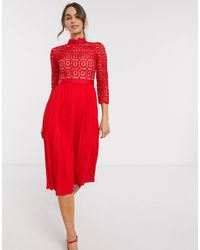 Little Mistress Lace And Pleat Skater Dress - Red