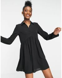 ASOS - Vestido camisero corto negro amplio - Lyst