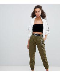Bershka Pantalon cargo détail chaîne - Vert