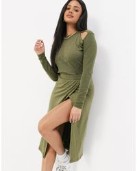 UNIQUE21 Knitted Wrap Midi Skirt - Green