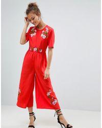 ASOS - Embroidered Tea Jumpsuit - Lyst